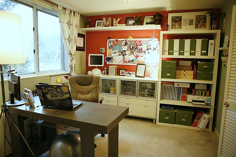 Organized Office inspired beauty organizing the home office. orgainized on wall
